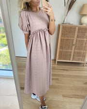 Flora ss midi dress warm taupe