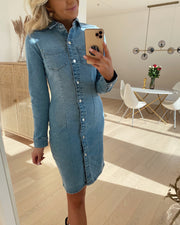Grace ls slim button dress light blue denim