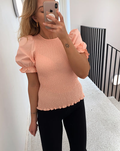 Effie short sleeved top peach melba