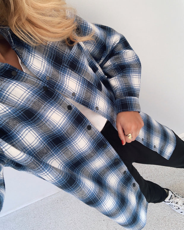 Ellie blue check shirt