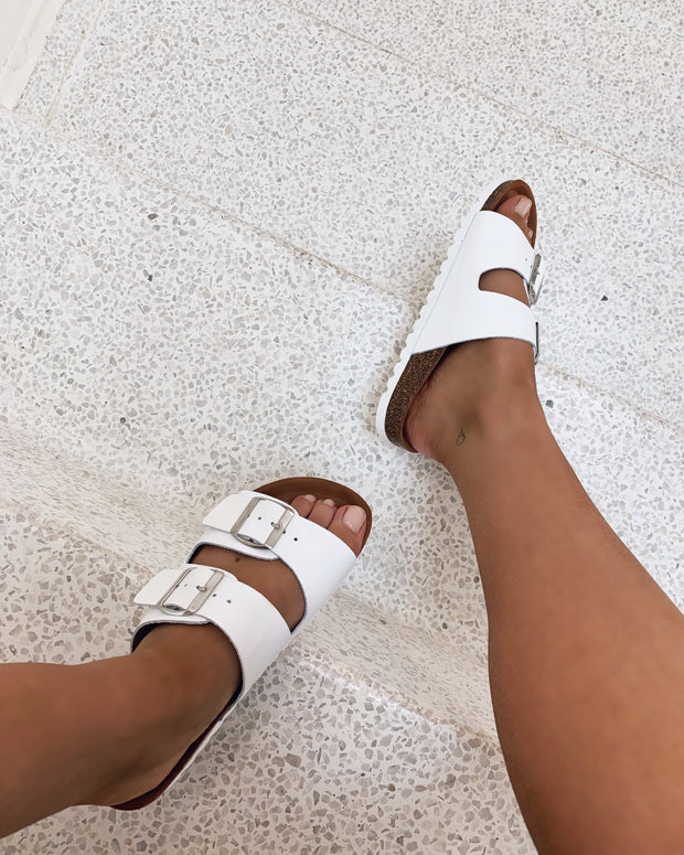 Nicoline leather sandal white