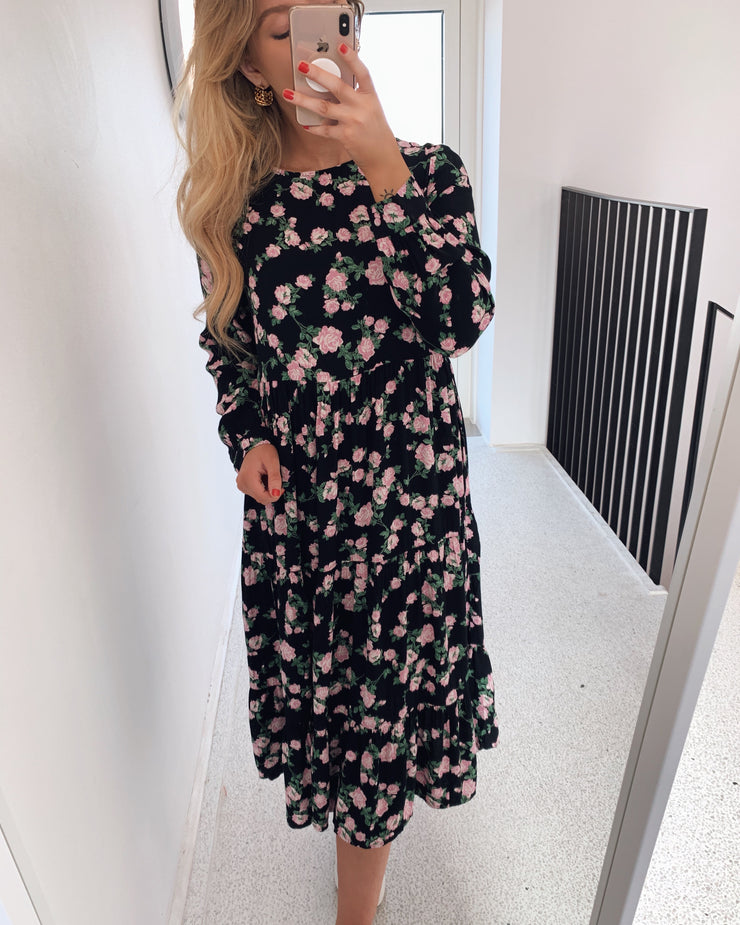 Melinda ls midi dress black/flowers