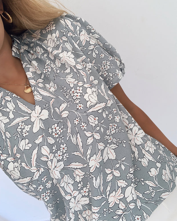 Nougat top grey/flower