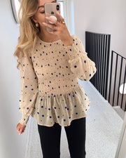 Alina long sleeved blouse bamboo/dot