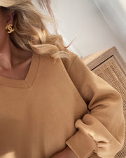Peva v-neck sweat camel
