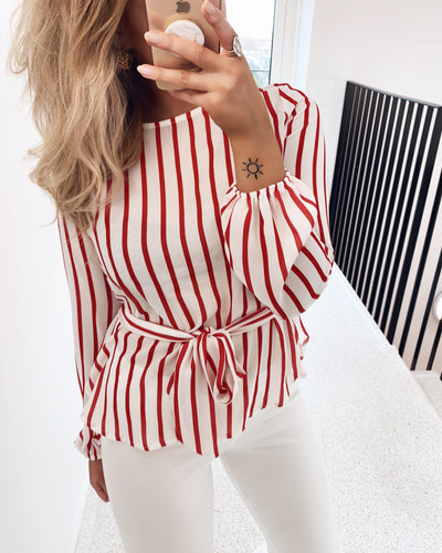 Lucy long sleeved striped shirt red