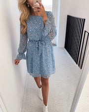 Noki dress leo/light blue/lurex