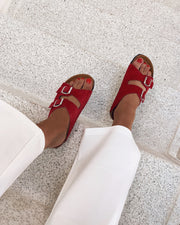 Twin strap sandal red