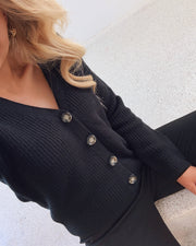 Karie ls knit cardigan black