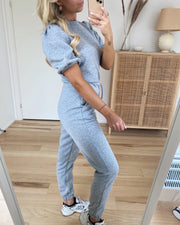 Daisy high waist sweat pants light grey melange