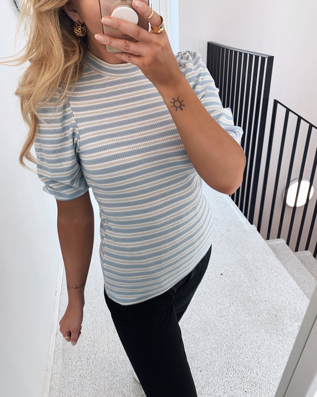 Pany short sleeved blouse blue bell stripe