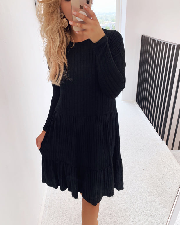 Vini long sleeved dress black