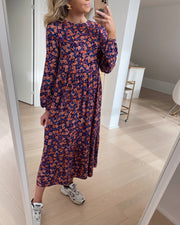 Lubbie ls midi dress sky captain/artsy