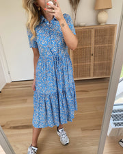 Mie ss midi dress lichen blue/flowers