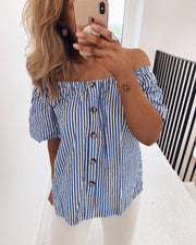 Erub off shoulder blue/white