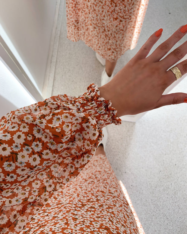 Tully dress rust/flower - LIMITED EDITION