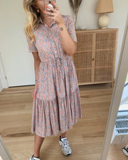 Mie ss midi dress misty rose/flowers