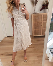 Alva ss dress eggnog/bucktorn
