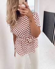 Lucy blouse cream/red