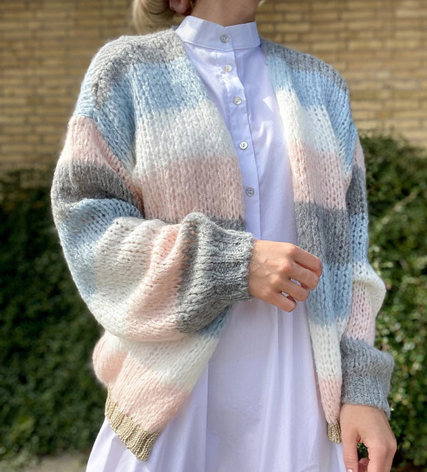 Kala knit cardigan light blue/light rose stripe