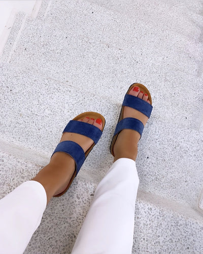 Twin strap sandal blue