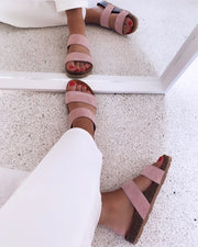 Twin strap sandals rose