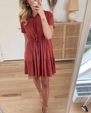 Dolca ss short shirt dress marsala