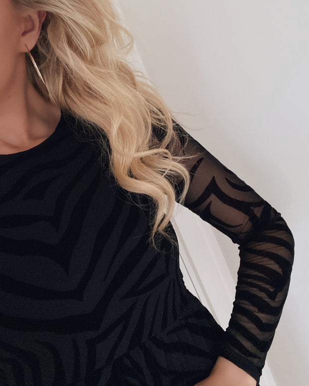 Gia dress black/black zebra