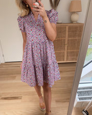 Sophie s/s v-neck dress birch/purple flower