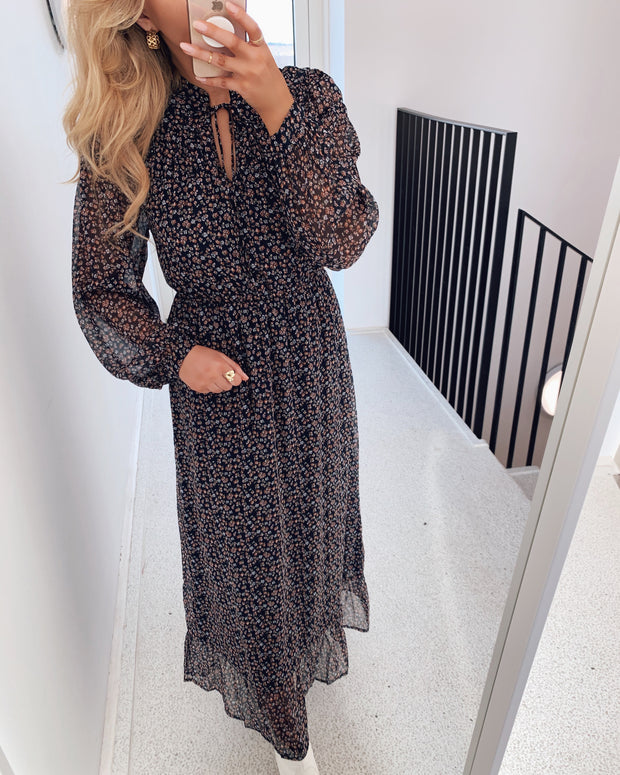 Molly long sleeved ankle dress night sky