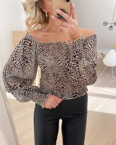 Nea blouse black/cream/lilac