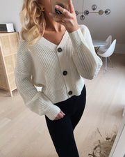 Lea long sleeved v-neck cardigan birch