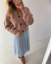Lea long sleeved v-neck cardigan pale mauve