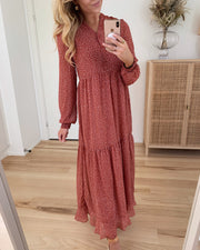 Julianne l/s ancle dress marsala dots