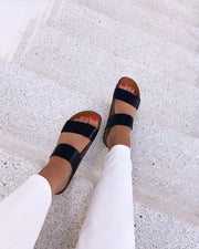 Twin strap sandal black