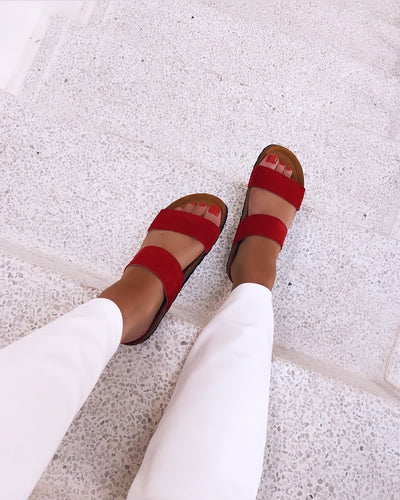 Twin strap sandals red