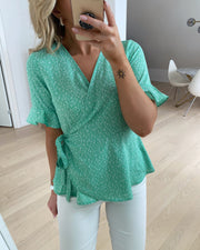 Henna 2/4 wrap top jade cream/loula