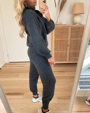 Salsa high waist knit pants dark grey melange