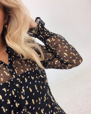 Vilna shirt black dot/gold