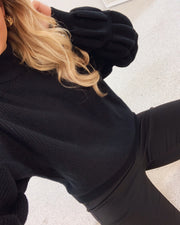 Lotte high neck bouble knit black