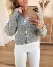 Lisajive ls balloon cardigan light grey melange