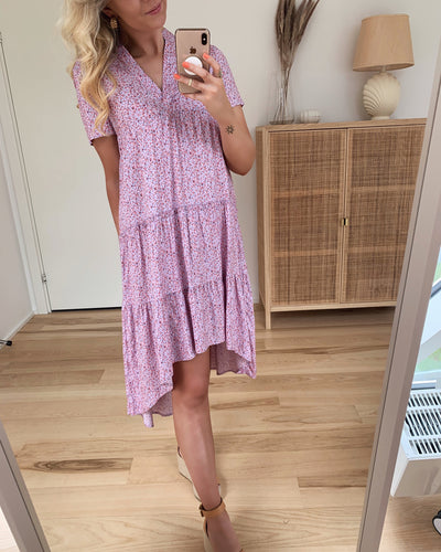 Simone s/s high low tunic pastel lilac