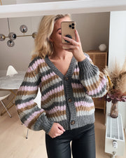 Lya cardigan grey/stripe