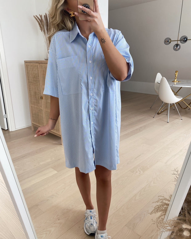 Gros shirt dress white/blue