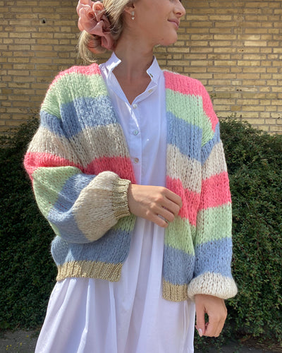 Kala knit cardigan rainbow stripes