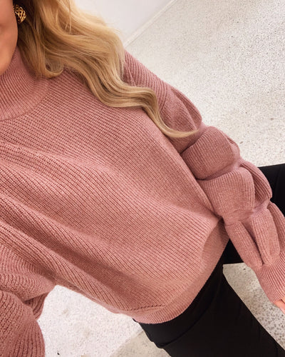 Lotte high neck bouble knit ash rose