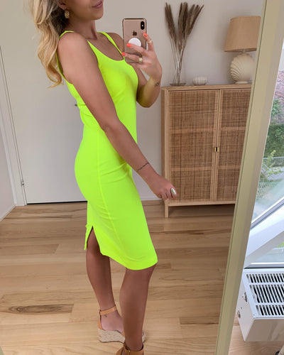 Holly s/l short dress safety yellow
