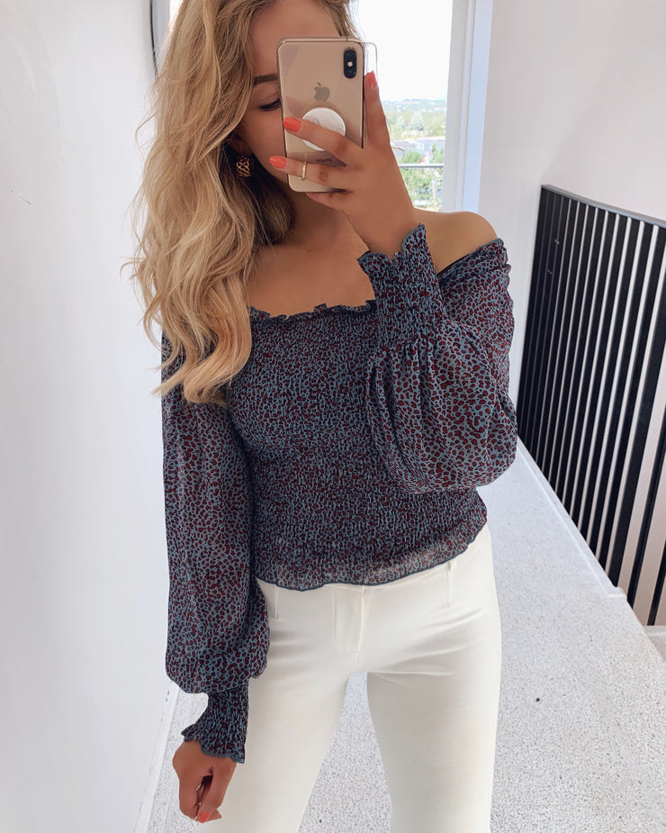 Nea off shoulder bluse blue/vino/blk