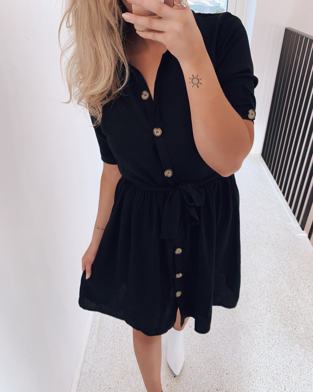 Nutti shirtdress black - FORUDBESTILLING