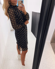 Vilna dress black dot/gold